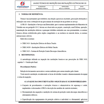 Laudo de instalações elétricas em Itirapina
