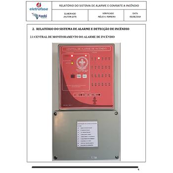 Laudo do sistema de combate a incêndio em Aguaí