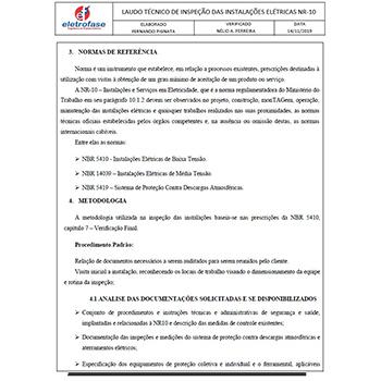 Laudo elétrico NR 10 / NBR 5410 em Piedade